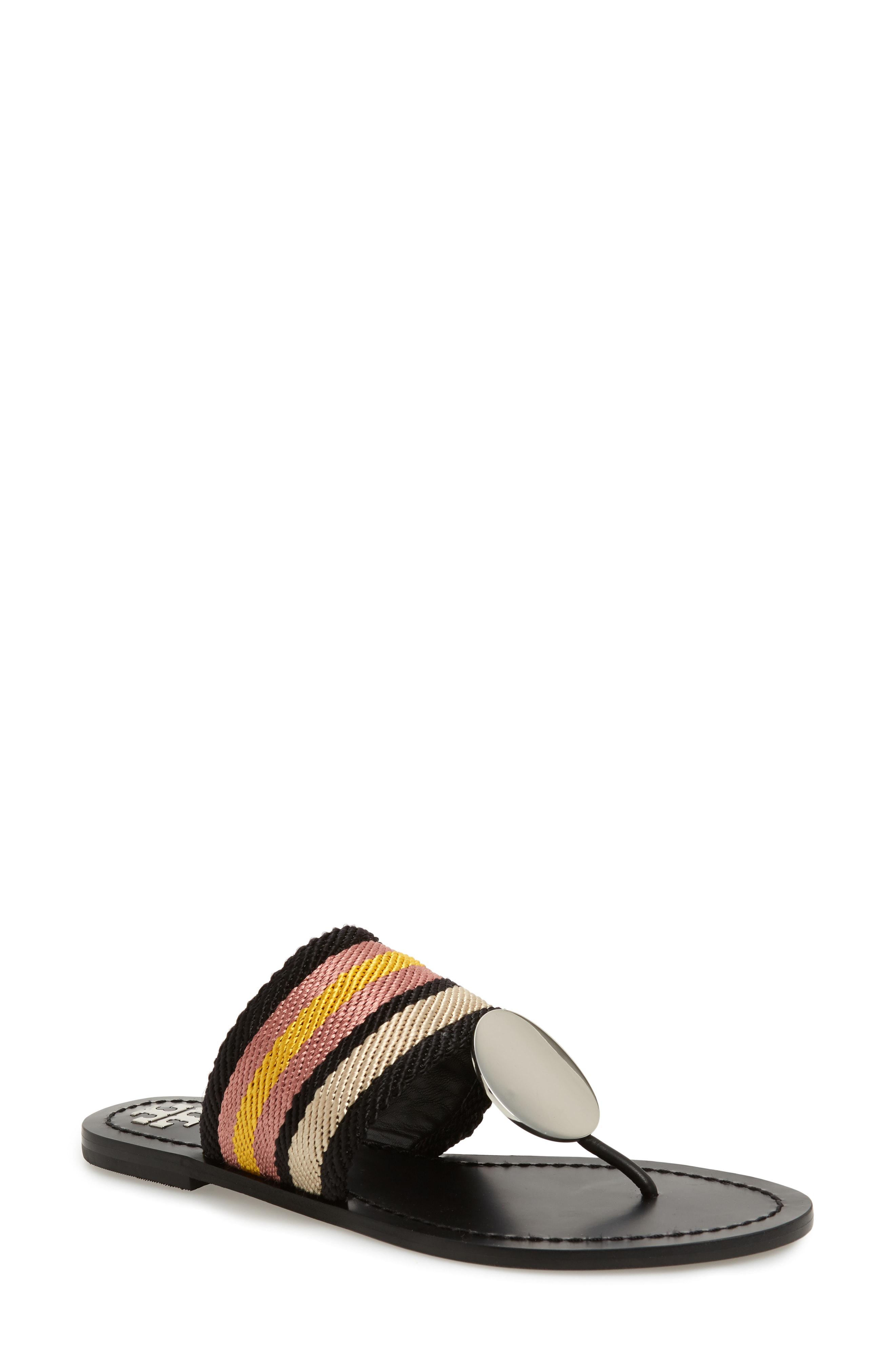 c094d826384a Tory Burch Patos Sandal In Black White Stripe  Royal Tan