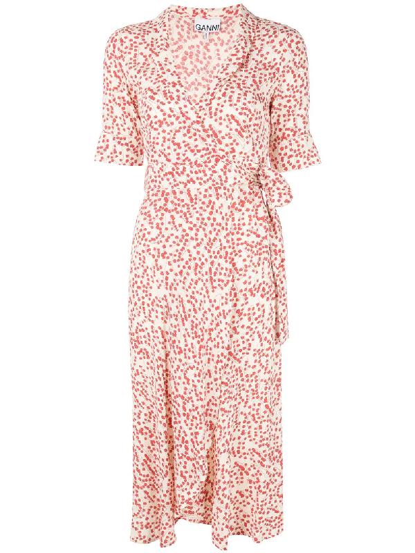 64e5e12d Ganni Floral Print Crepe Midi Wrap Dress In White | ModeSens