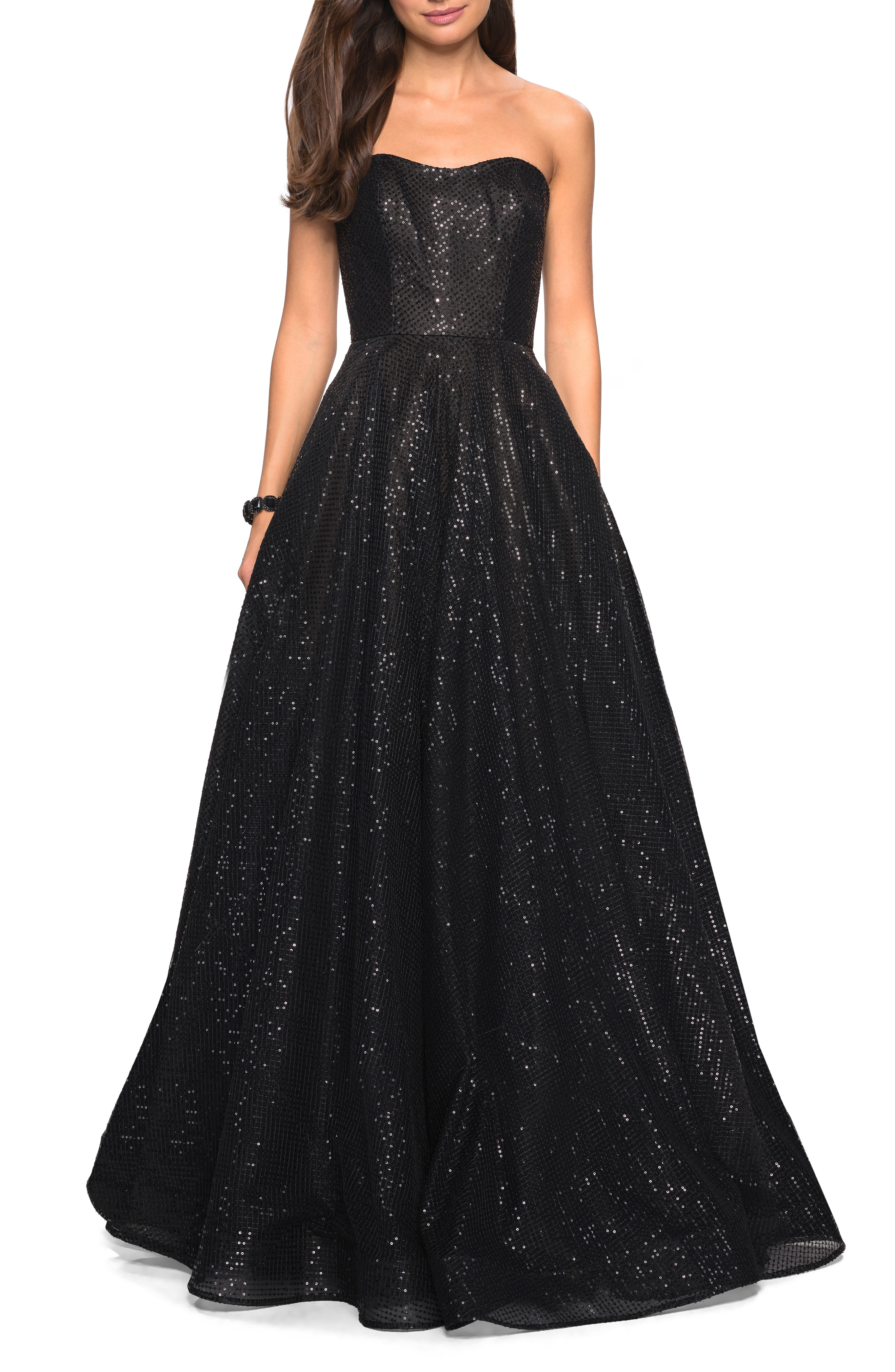e81c5e9914b31 La Femme Sequin Strapless Evening Dress In Black | ModeSens