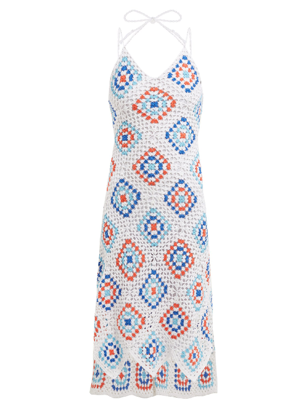 My Beachy Side Sexy Granny Crochet-knit Cotton Midi Dress In Blue White
