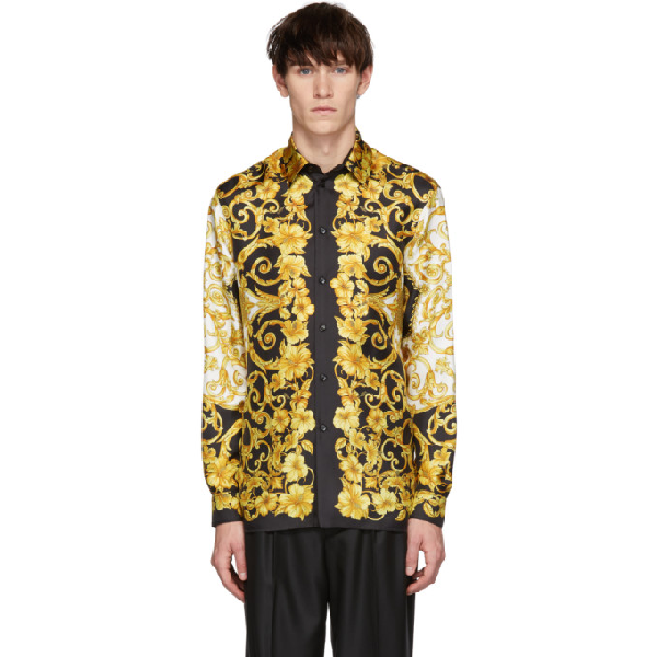01857e9e Versace Black And Gold Silk Shirt With Iconic Gold Hibiscus Print In A771  Gold