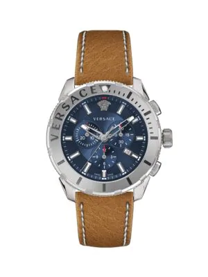 Versace Casual Chrono Stainless Steel & Leather-Strap Watch In Grey