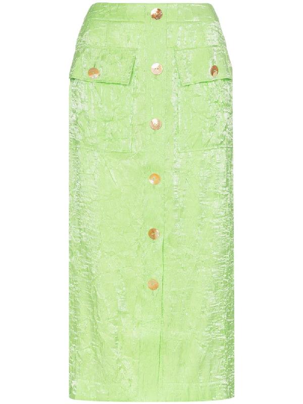 0bf1a02024f3 Rejina Pyo Lily Crinkled-Satin Midi Skirt In Green
