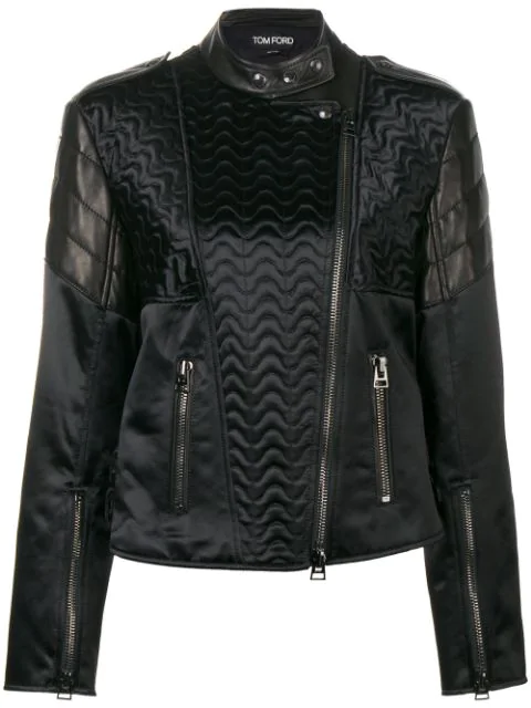 Tom Ford Animal Print Leather Jacket In Black
