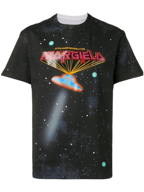 Maison Margiela Printed Ufo T Shirt In Black Cotton Jersey