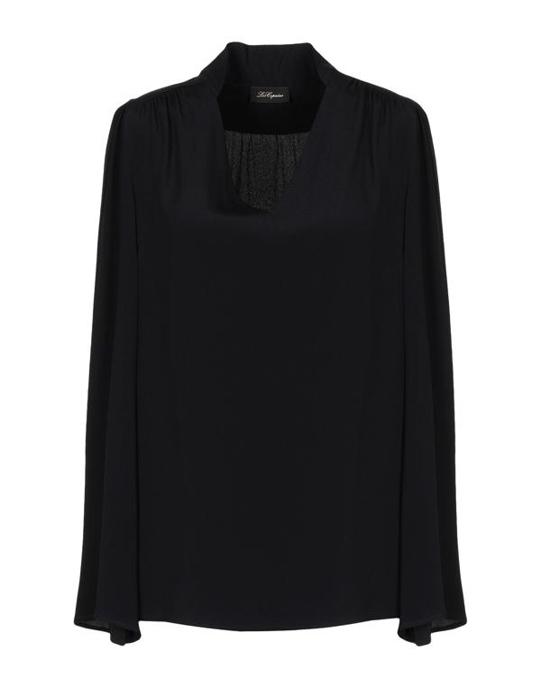 Les Copains Crepe Silk Bow Shirt In Black