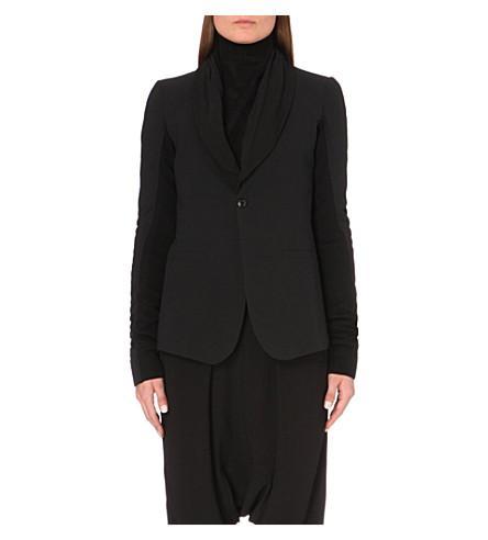 Rick Owens Woman Plinth Wool-Paneled Cotton-Drill Blazer Black
