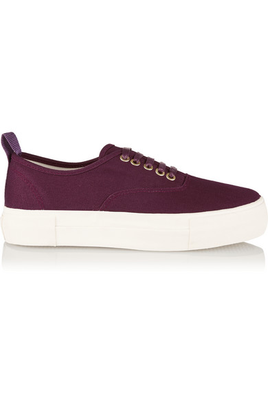 Eytys Burgundy Canvas Mother Sneakers