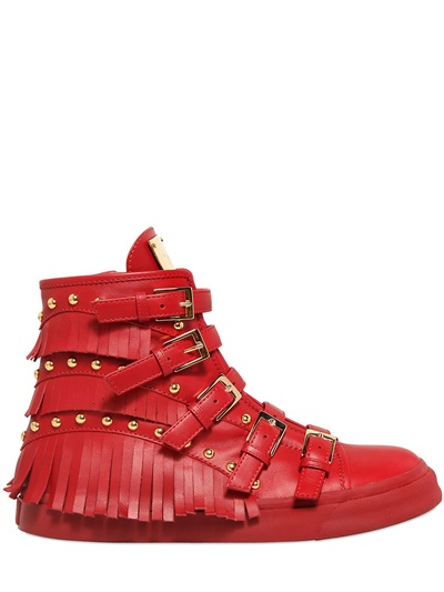 Giuseppe Zanotti Red Leather Fringed 'London' High-Top Sneakers In Black
