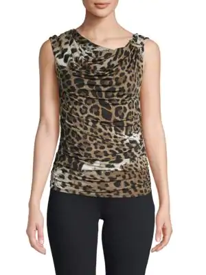 Roberto Cavalli Draped Leopard Print Top In Natural