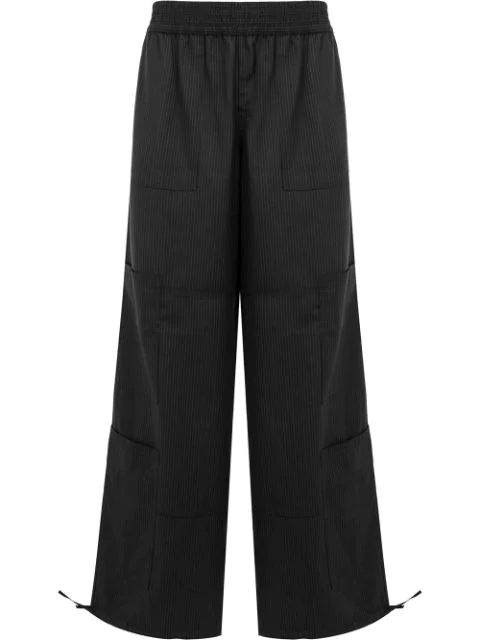 Wales Bonner Striped Wide Leg Trousers In Black