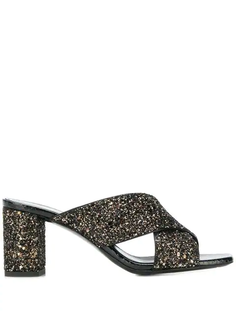 Saint Laurent Sandal Loulou Gold Glitter In Black