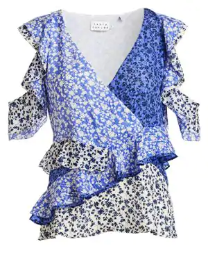 Tanya Taylor Ditsy Floral Silk Top In Navy Lavender