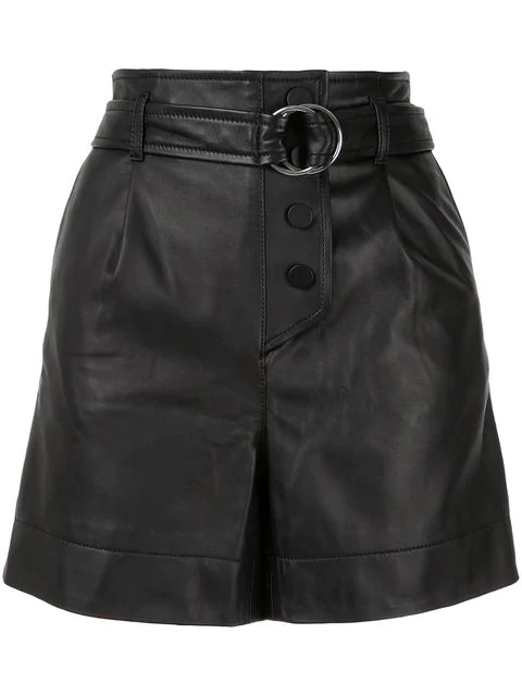 Yves Salomon Belted Leather Shorts In Black