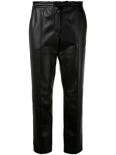 Yves Salomon Cropped Leather Trousers In Black