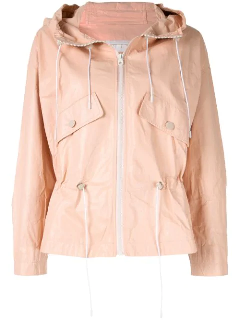 Yves Salomon Hooded Leather Jacket In Pink