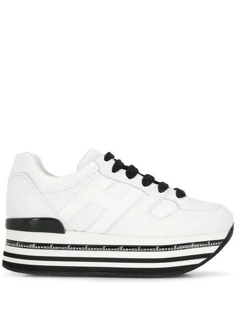 Hogan Striped Platform Sneakers In White