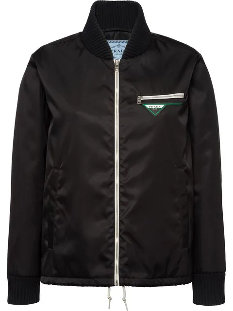 Prada Nylon Gabardine Jacket In F0002 Black