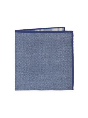 Saks Fifth Avenue Double Sided Silk Pocket Square In Blue