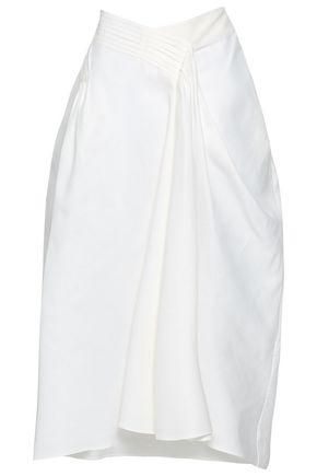 Jil Sander Pleated Cotton-twill Midi Skirt In White