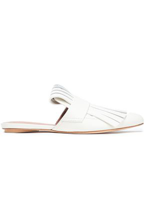 Marni Woman Fringed Glossed-Leather Slippers White