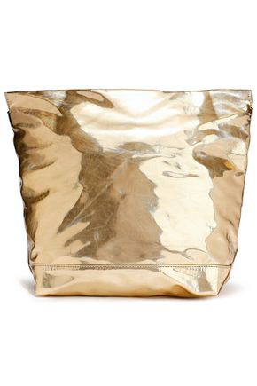 Marni Woman Bundle Crinkled Faux Mirrored-Leather Clutch Gold