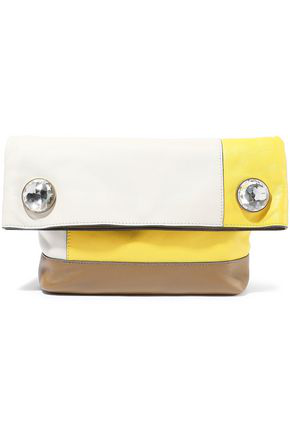 Marni Woman Crystal-Embellished Color-Block Leather Clutch Neutral