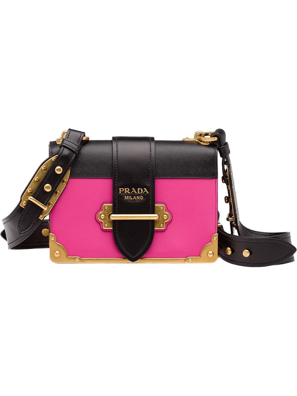 29348f8fcefd Prada Cahier Box Patent-Leather Shoulder Bag In Black | ModeSens