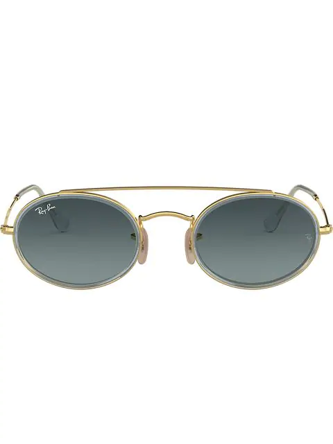 Ray Ban Oval Double Bridge Sunglasses In Metallic