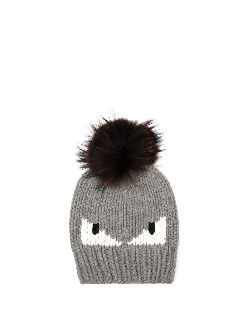 22b5798807a Fendi Bag Bugs Knitted Bobble Hat In Grey
