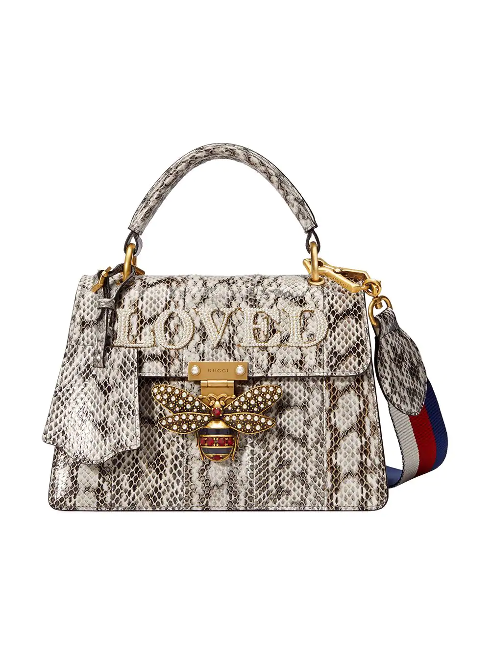 6396cacfdb1 Gucci Queen Margaret Embellished Python Tote In Nude