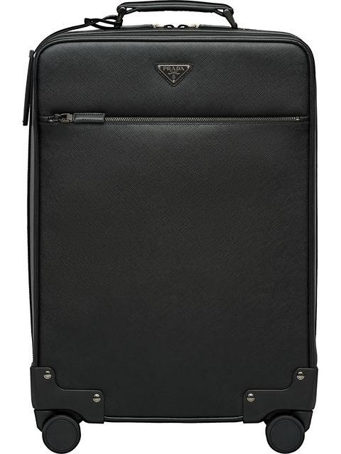 Prada Saffiano Leather Wheeled Carry In Black