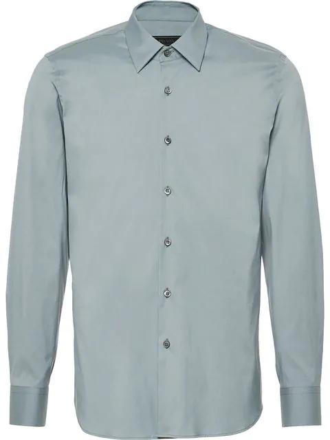 Prada Slim-fit Stretch Shirt In Grey