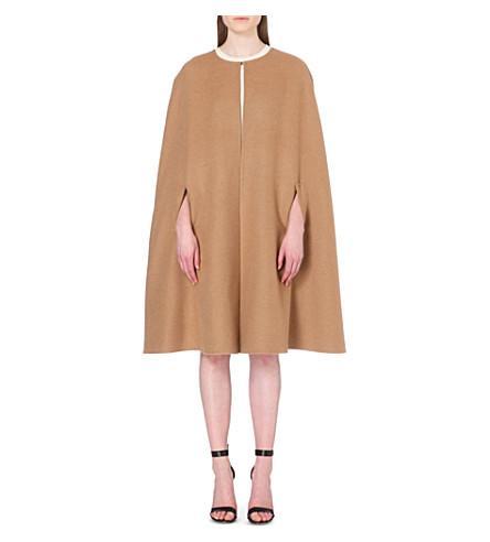 Oscar De La Renta Collarless Camel Hair And Wool-Blend Cape