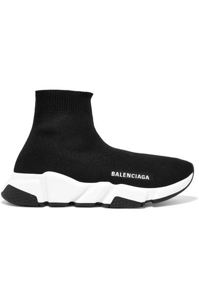 8eac4afad8c8 Balenciaga Speed Logo-Print Stretch-Knit High-Top Sneakers In Black ...
