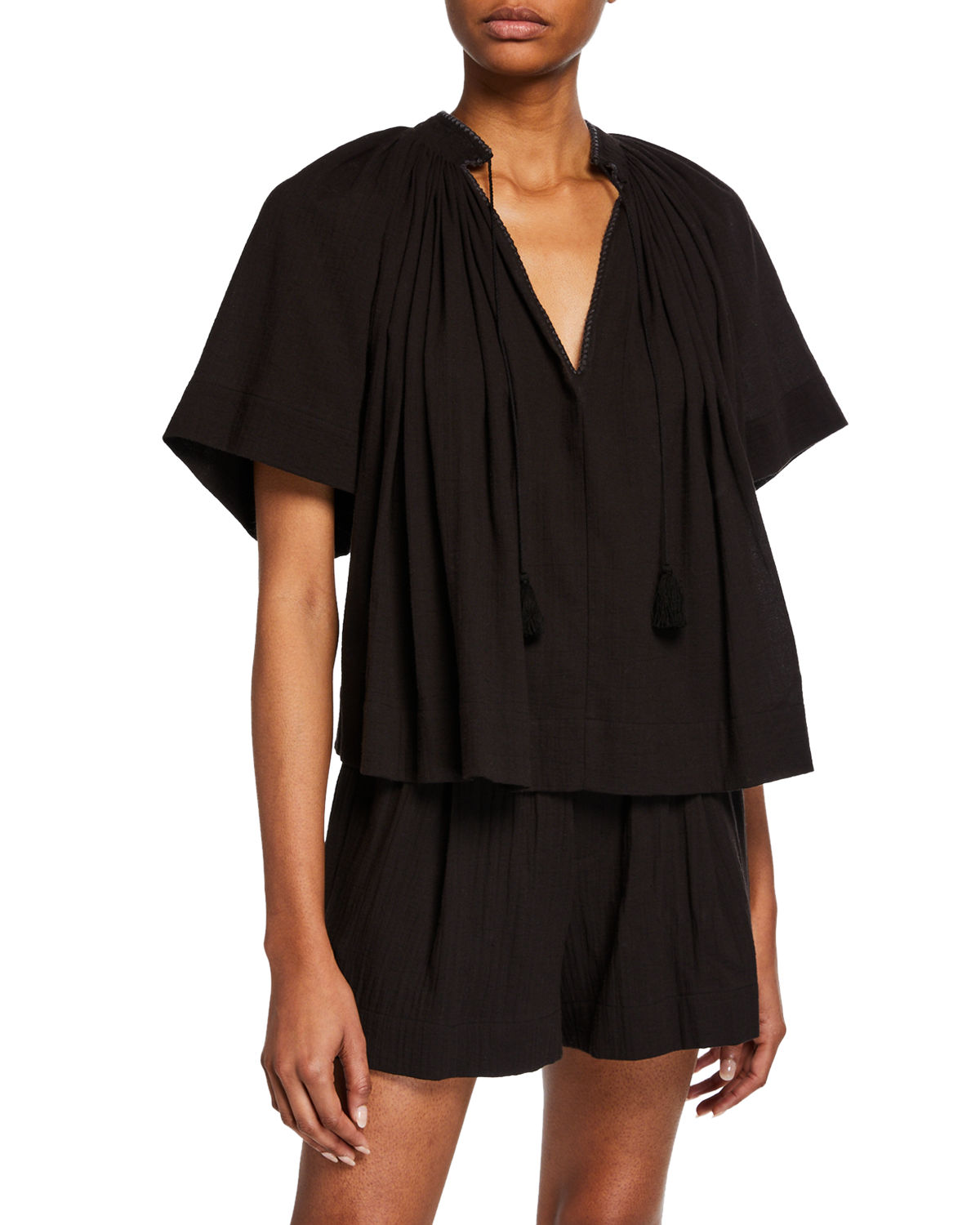 4885e25e73ac07 Vince Short-Sleeve Poet Blouse With Tassel-Ties In Black