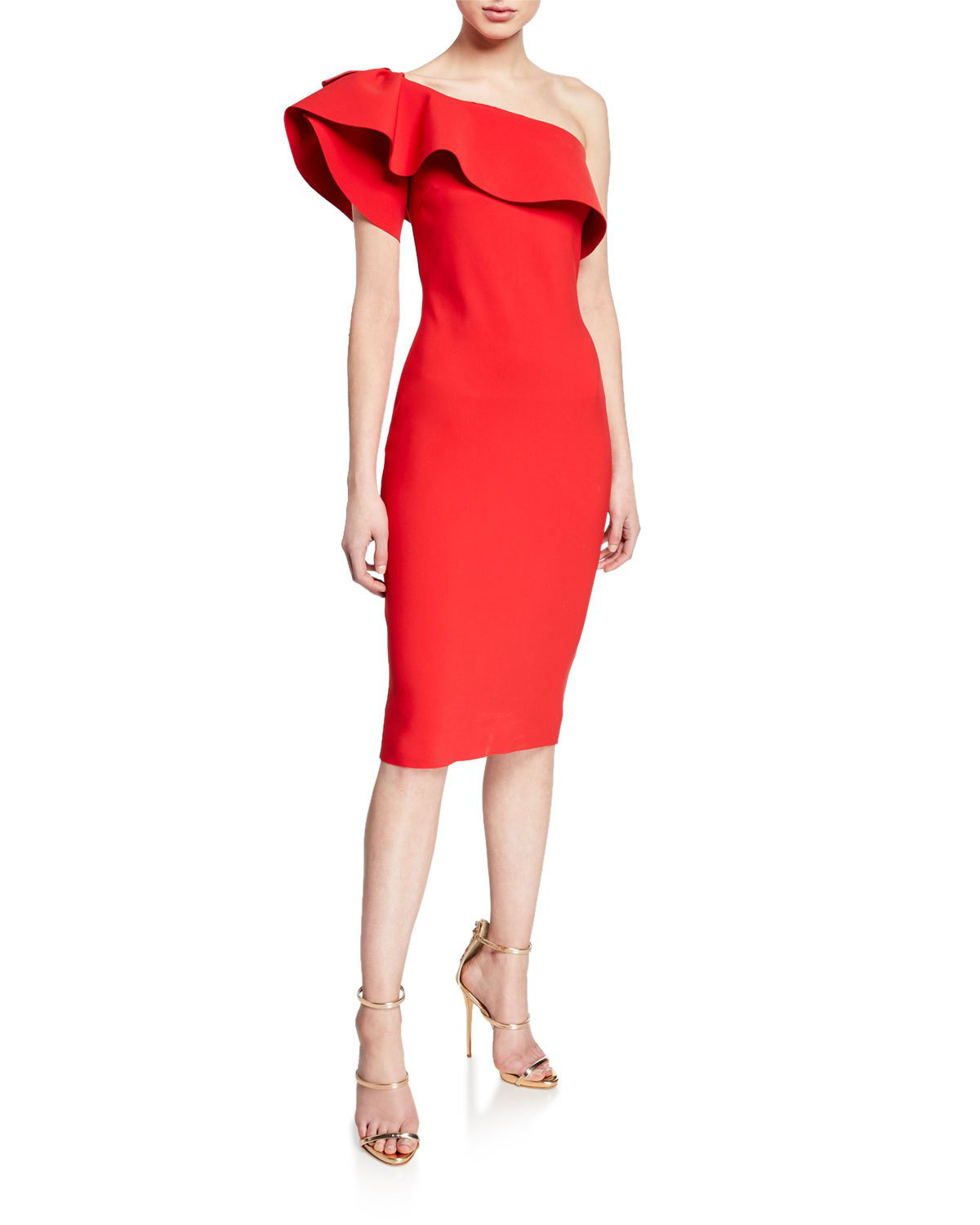 a921d830aa30 La Petite Robe Elisse One-Shoulder Ruffle-Neck Cocktail Dress In Red ...