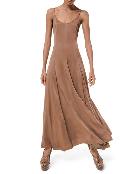 Michael Kors Crushed Satin Charmeuse Midi Dress In Brown