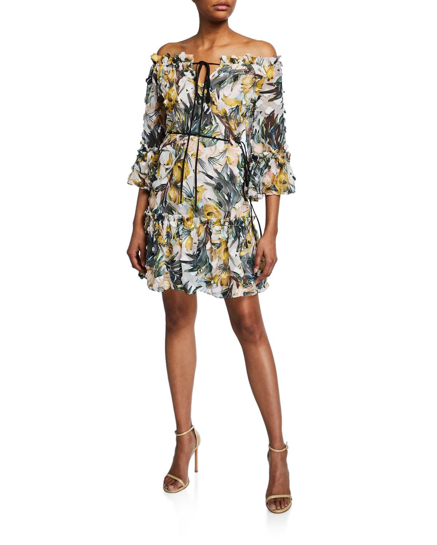 Milly Emmi Floral-Print Off-The-Shoulder Dress Dress In Multi