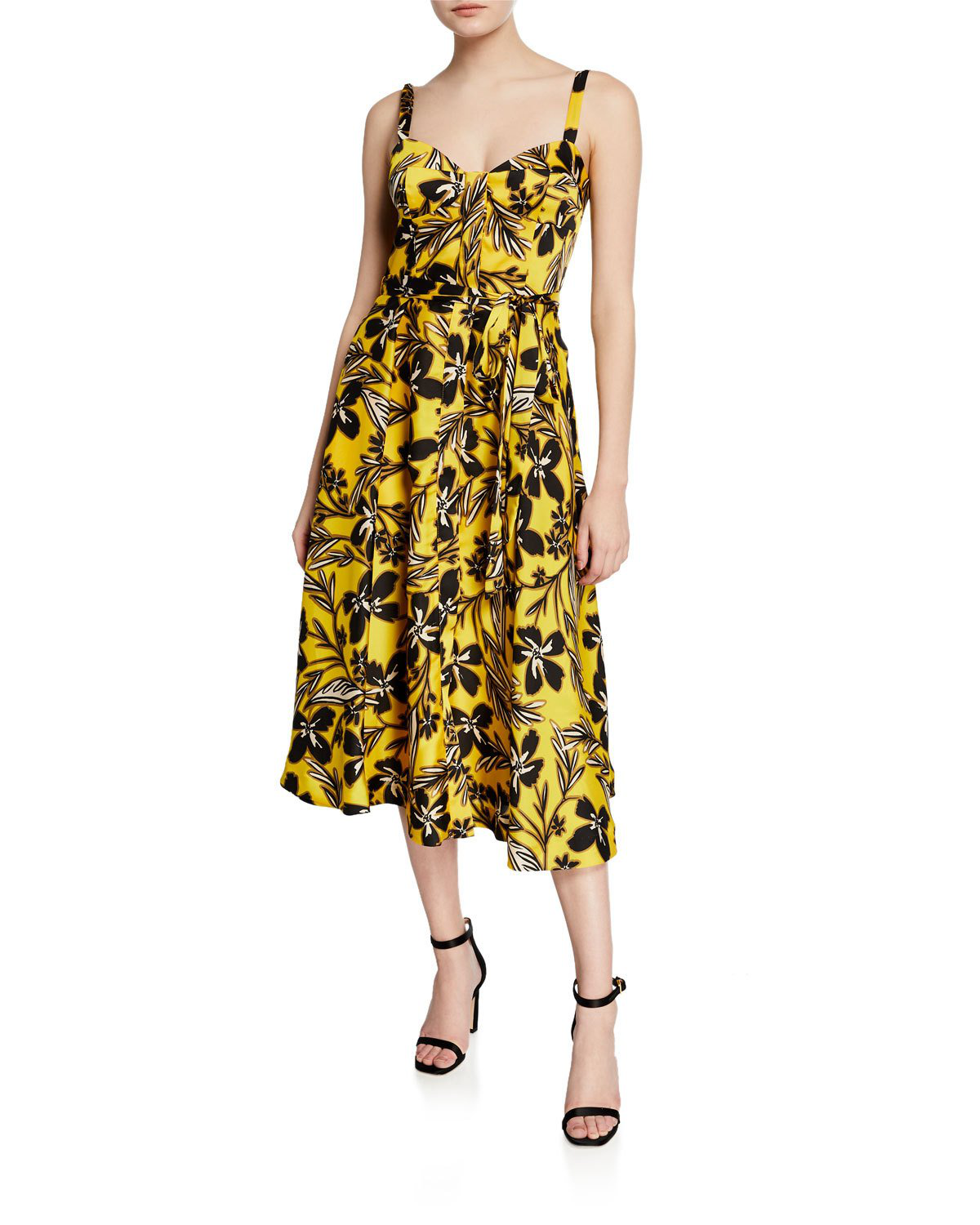 Milly Bustier Floral-Print Midi Dress In Yellow