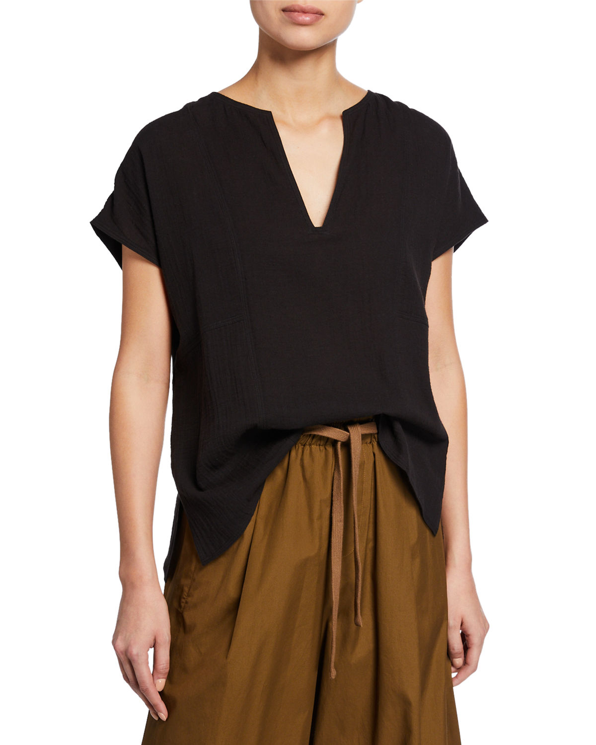 cb9ecba1d123f Seamed detailing adds subtle structure to a crinkly cotton top that s  slouchy without being sloppy. Style Name  Vince Seam Detail Cotton Split  Neck Cotton ...