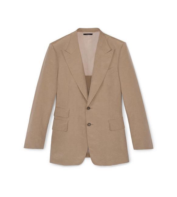 Tom Ford Beige Silk Linen Shelton Jacket In Beige/Green