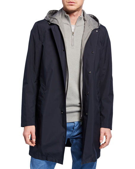 Loro Piana Men's Urban Sebring Reefton Snap-front Rain Coat In Blue