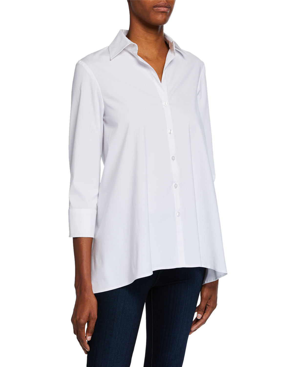 d556a8bc8 Finley Plus Size Button-Down 3/4-Sleeve Trapeze Shirt In White ...