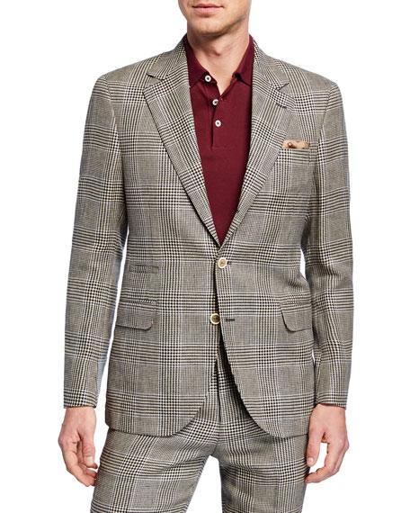 Brunello Cucinelli Men's Retro Plaid Two-Piece Linen/Wool Suit In Beige