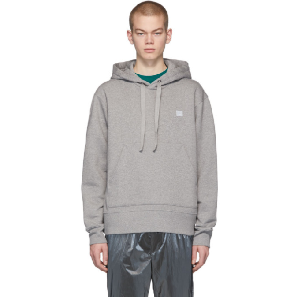 Acne Studios Hooded Oversized Face Patch Sweatshirt In Grey
