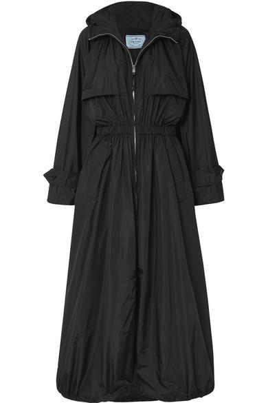 Prada Hooded Nylon Parachute Coat In Black