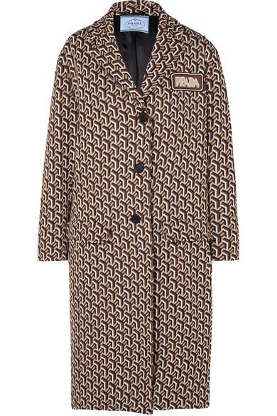 d42edbca0 Prada Geometric Twist Print Jacquard Coat In Brown | ModeSens