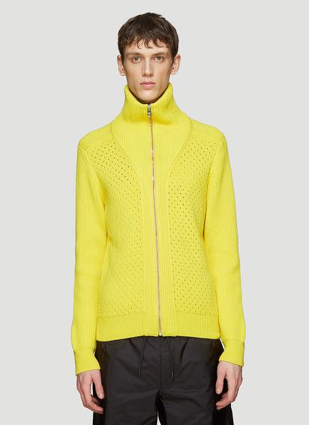 Prada Zipped Knit Sweater In Yellow