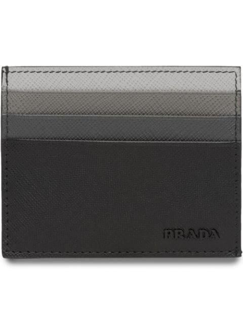 Prada Saffiano Leather Credit Card Holder In Black In F0002